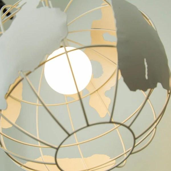 Lustre globe terrestre blanc