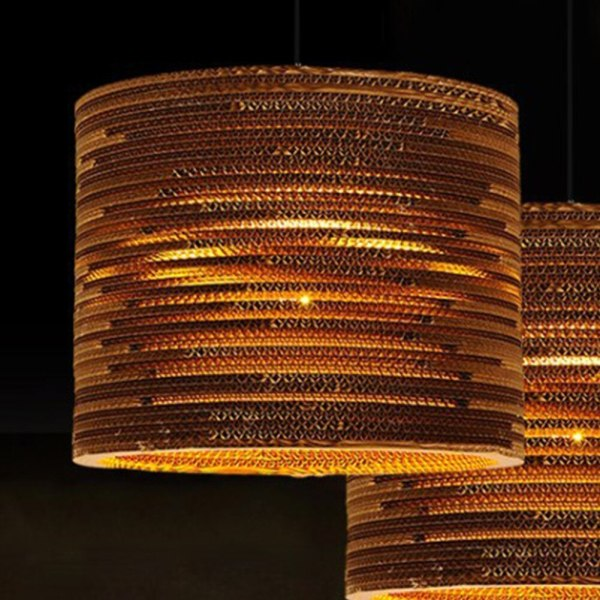 Lustre rotin cylindre