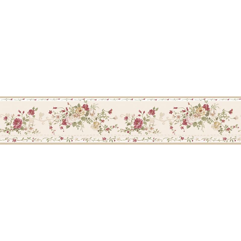 papier peint frise bouquet rose rouge