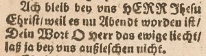 """One of the first appearances of the opening stanza of """"Lord Jesus Christ, with Us Abide,"""" in a booklet printed by Friedrich Gutknecht in Nürnberg."""