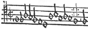 The version in the Erfurt Enchiridion has a half-note pickup, preceded by a half rest, together forming one whole measure. Also visible is the quarter-note pickup leading into the Abgesang, preceded by a quarter rest, forming with the closing half note of the Aufgesang one complete measure.