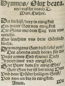 """Der du bist drei in Einigkeit"" as it appeared in a 1545 printing of Klug's hymnal."