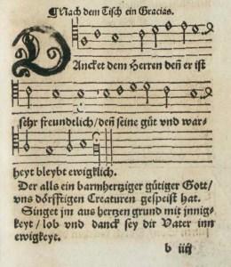 """Danket dem Herren denn er ist sehr freundlich"" as it first appeared in the 1544 hymnal of the Bohemian Brethren"