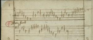 """The secular tune on which """"Herr Christ, der einig Gotts Sohn"""" was based, from the handwritten Lochamer-Liederbuch, c. 1450."""
