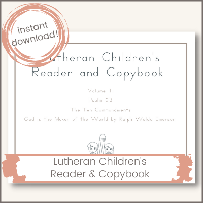 cover photo advertising a copybook for Lutheran children