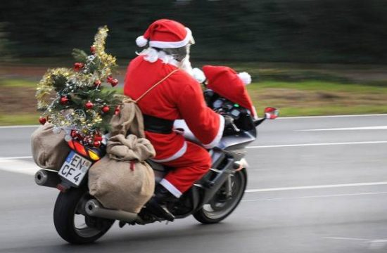 Santa Claus on a motorcycle