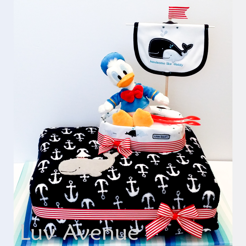 Disney Donald Duck Sailor Whale diaper cake Luv Avenue