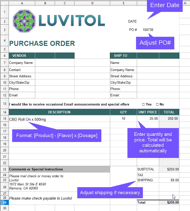 Luvitol CBD Purchase Order Form