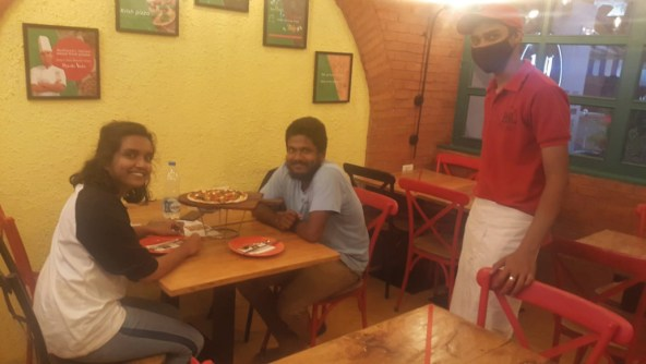 First day guests at 1441 Pizzeria after reopening, Colaba