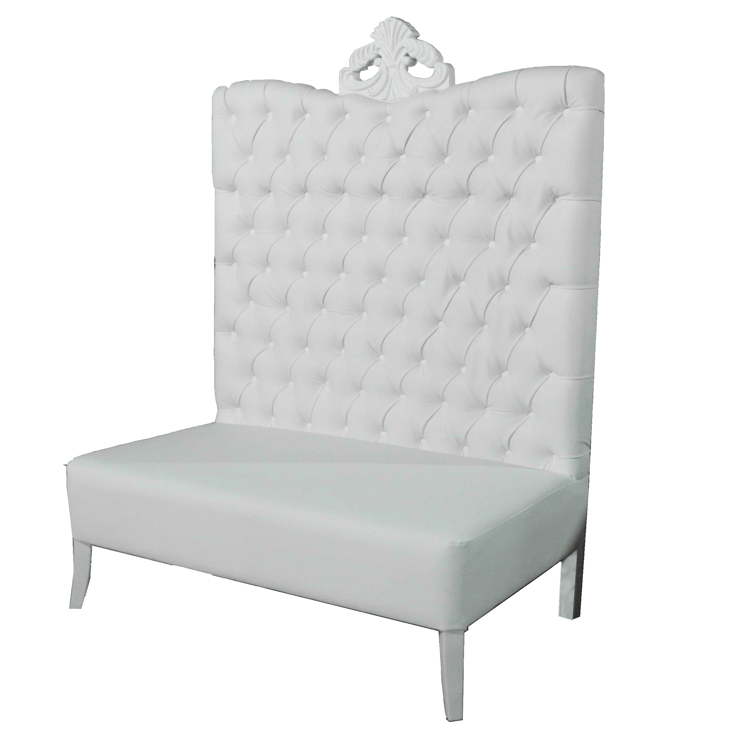White Luxe Line High Back Sofa Luxe Event Rental
