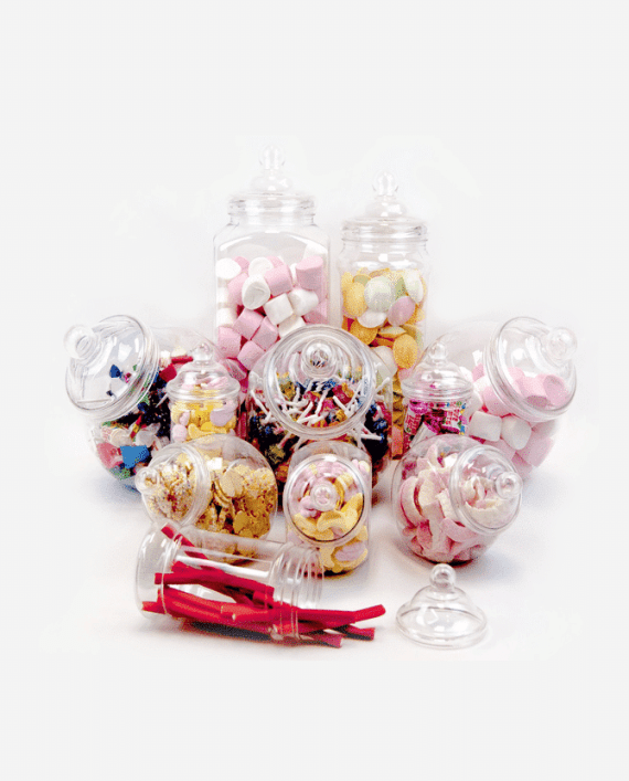 Assorted Sweet Candy Cart Containers