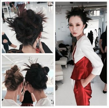 Hair bun perfection at the @mitsouly show at NYFW ? Luxelab Stylist Jen Beckerman joins the L'Oréal Professionnel team with lead hair by Josie Sanchez