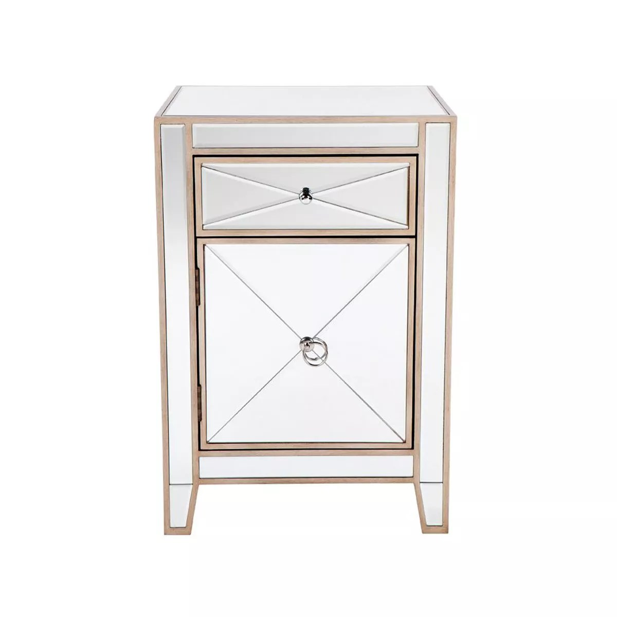 apolo antique gold mirrored bedside table 48cm x 40cm