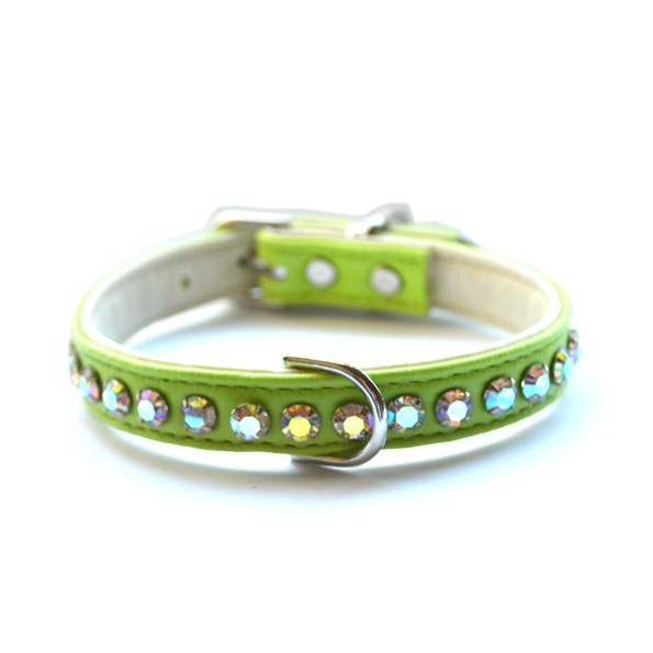 Ashley Designer Crystal Lime Dog Collar
