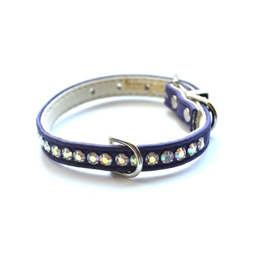 Jackie O Designer Crystal Dog Collar Purple