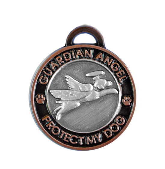 Guardian Angel Dog Antique Two Tone Pet Tag