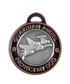 Guardian Angel Dog Antique Copper Pet Charm