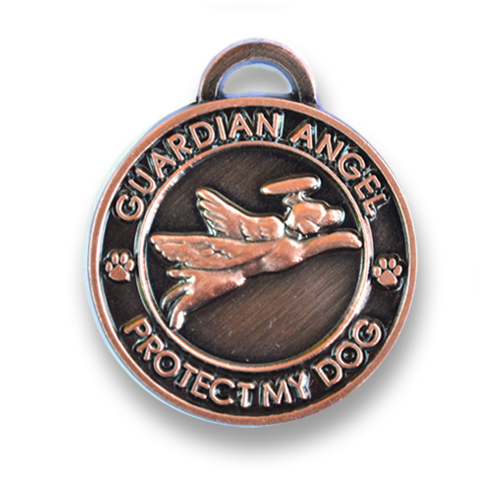Guardian Angel Dog Antique Copper Pet Charm