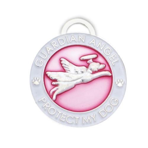 Guardian Angel Dog Charm Pink