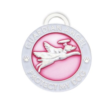 Guardian Angel Dog Pet Charm Pink