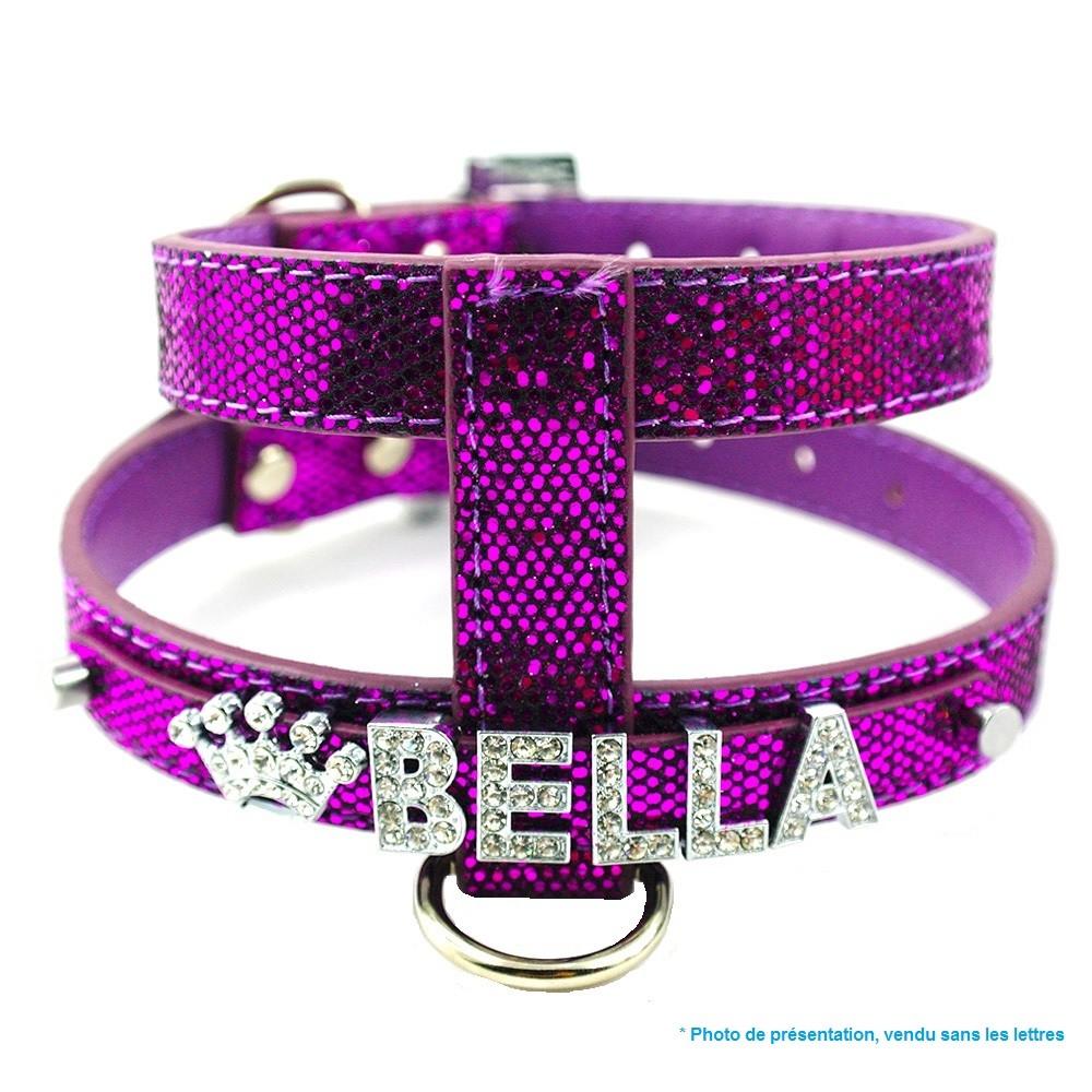 harnais pour chien paillete violet brillant
