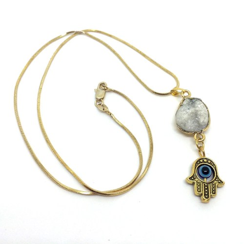 Hamsa Crystal Necklace