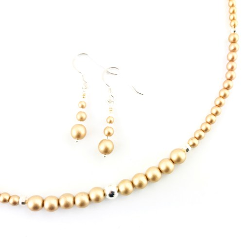 Druk crystal necklace and earrings jewellery set