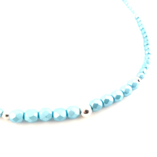 Blue Crystal sterling silver necklace