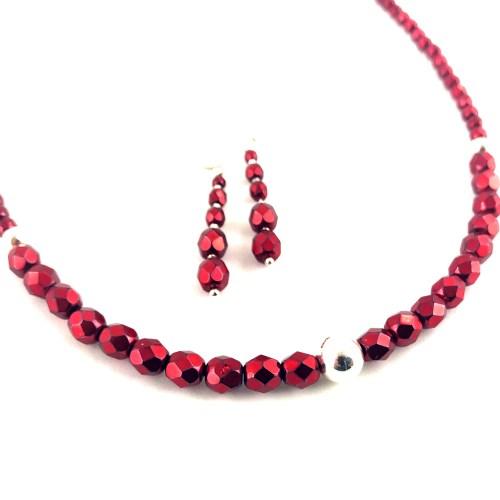 Fire polished crystal necklace earrings set onlinge gifts uk