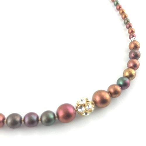 Czech Druk crystal necklace and earrings set