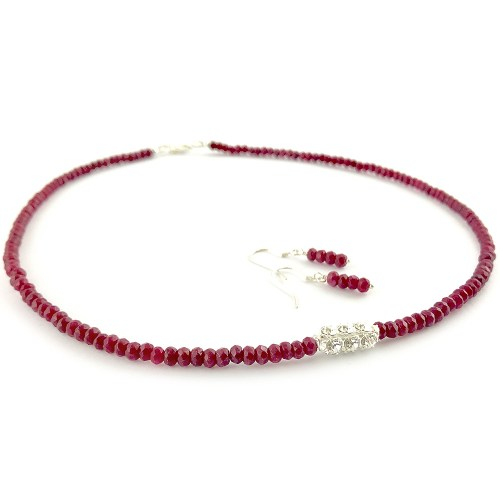 Genuine ruby necklace and earrings set online uk