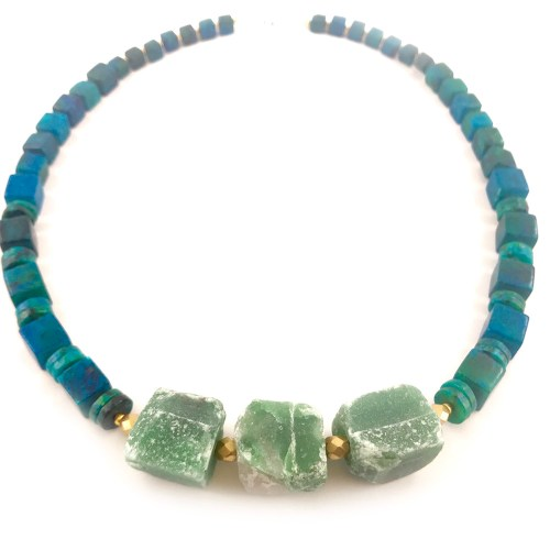 Chunky statement averturine necklace online uk