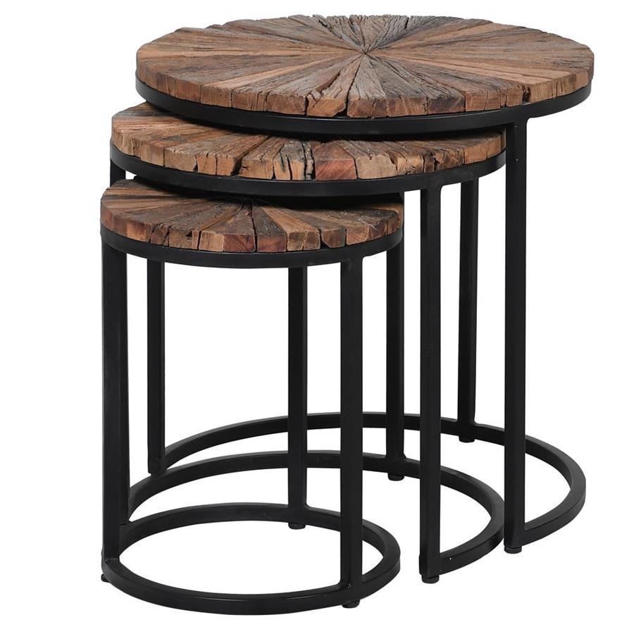 set of 3 natural round side tables