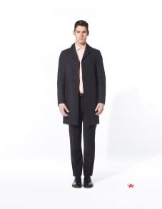 CELIO CLUB_LA COLLECTION NOIRE_NCUPLAZZA: manteau laine mélangée 249¤ NCAVECCHIO: chemise coton double fil 69¤ NCOROMA: pantalon laine super 120's 99¤ NCICORTINA: derby cuir 139¤