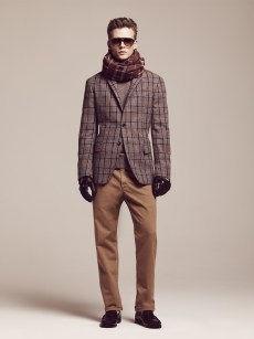Sunglasses / Tortoise • Wool Silk Scarf / Zinfandel-Dijon Andrew Blazer Shetland Check / Silver Fog Heather Frost Donegal Crew Neck Sweater / Cloud Burst Heather Driving Gloves / Perfect Plum-Midnight • Madison Regular Corduroy / Honey • Addison Loafer 1a / Bordeaux