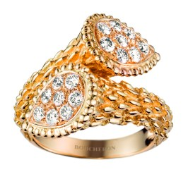Serpent Boheme Toi et Moi medium ring in yellow gold set with diamonds