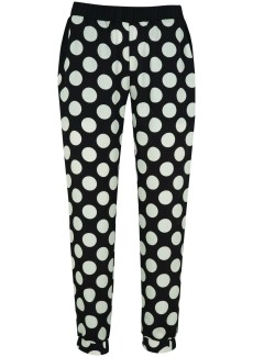 black and white spotted trousers