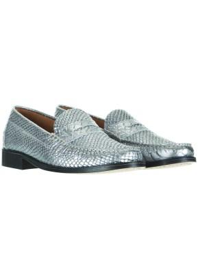 silver snakeskin loafers