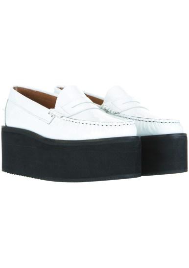 white platform loafers