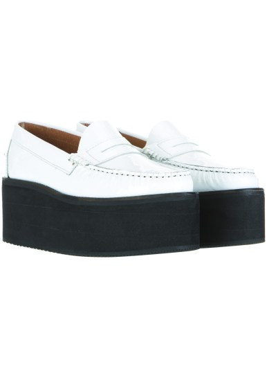 white platform loafers