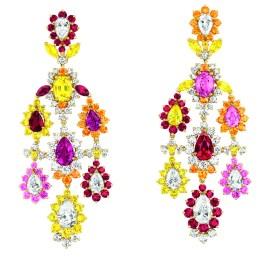 Boucles d'oreilles Cher Dior Exquise Rubis Face