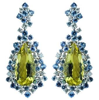 Damiani - Anima masterpiece - Earrings in white gold with lemon quartz and diamonds 20056577