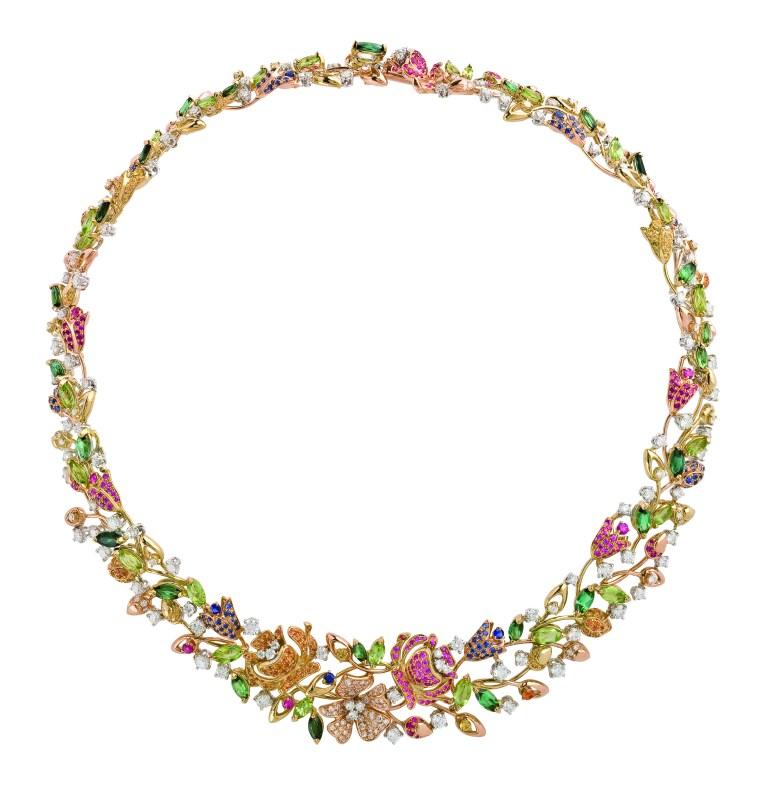 SPRINGTIME necklace gold diamonds, pink sapphires, peridots, tourmaline,citrine