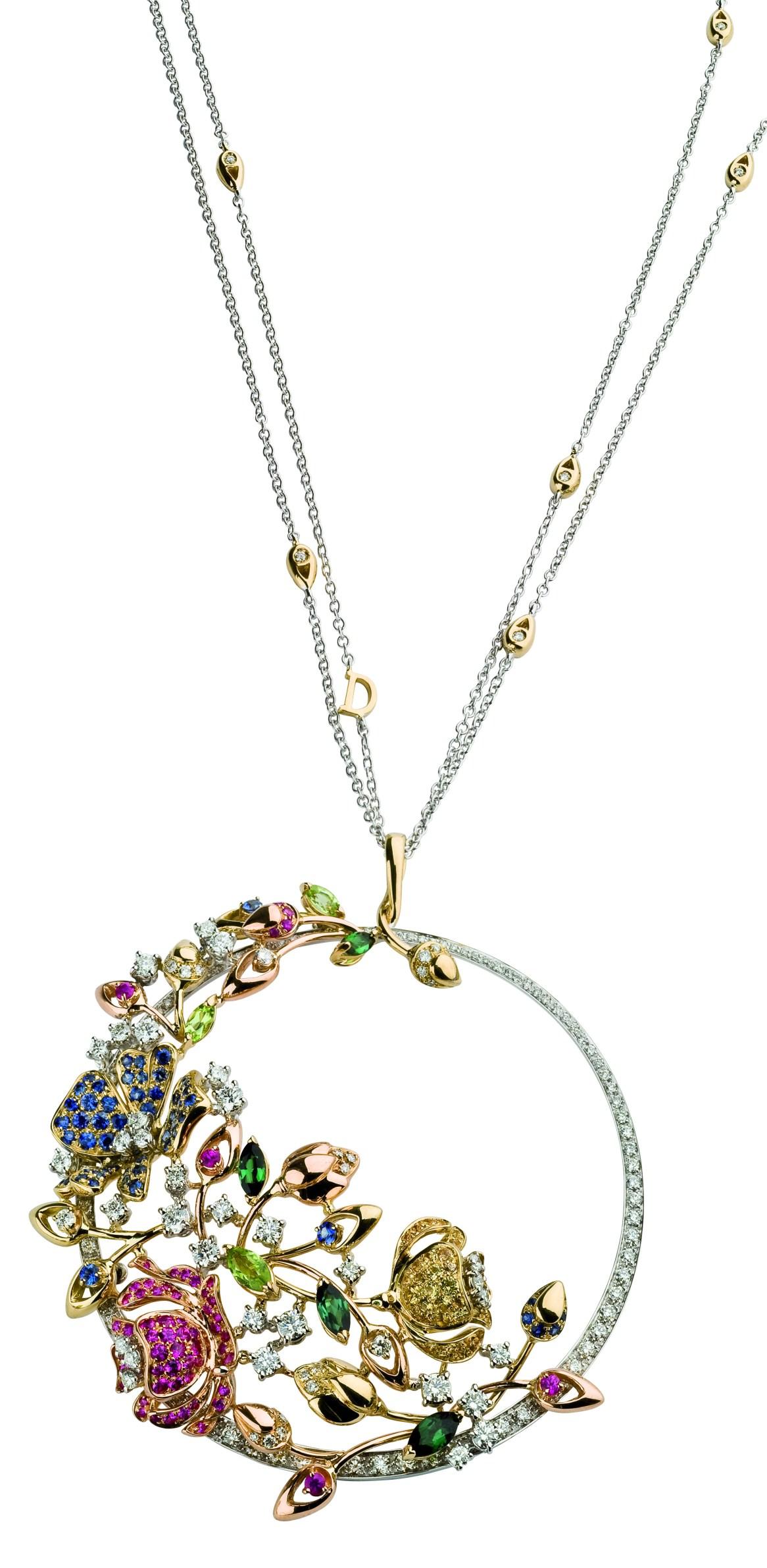 SPRINGTIME pendant gold diamonds, pink sapphires, peridots, tourmaline,citrine