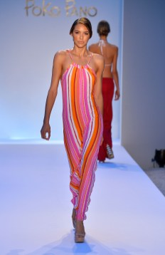 A model walks the runway at the Poko Pano show during Mercedes-Benz Fashion Week Swim 2014 at Oasis at the Raleigh on July 19, 2013 in Miami, Florida.