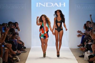 A model walks the runway at the Anna Kosturova/Beach Riot/Lolli Swim/Manglar/Indah show during Mercedes-Benz Fashion Week Swim 2014 at Cabana Grande at the Raleigh on July 22, 2013 in Miami, Florida.