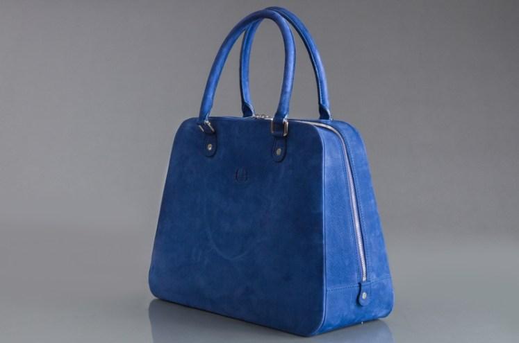 Sac Miss Bascans cuir nubuck bleu grand modèle