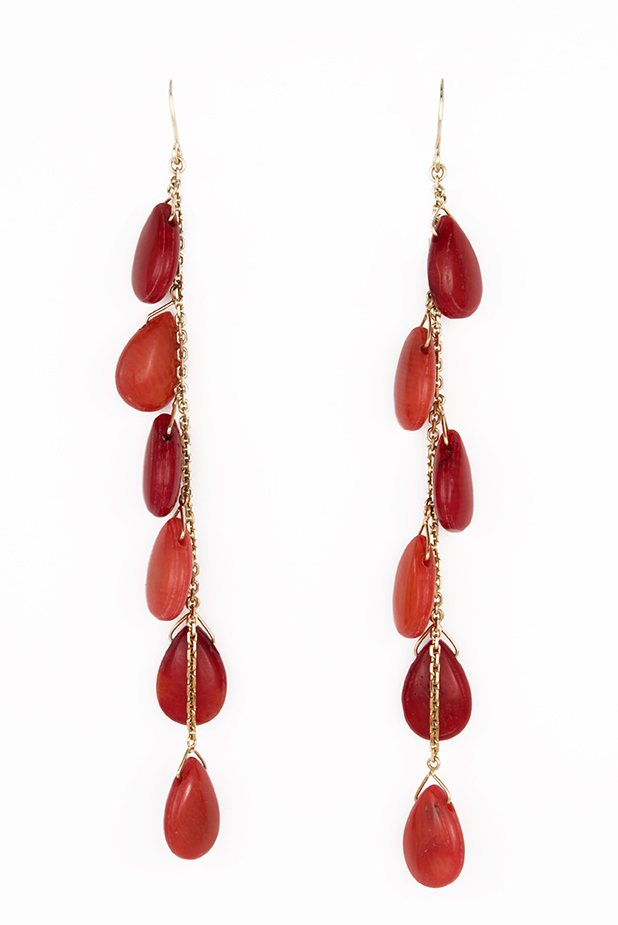 DAN003 - Danseuses - Earrings - Red & Orange Coral on 18k Yellow Gold