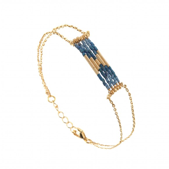 BRACELET FOLK MINI PL OR BLEU IRISE-BLEU CANARD BRILLANT 85