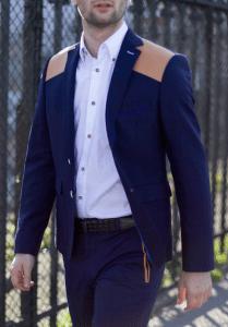 veste-marine-a-appliques-cuir-ceracolla